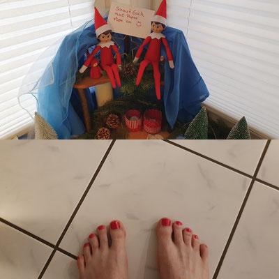 Lackierte Fußnägel Papa