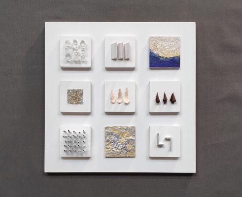 Petit Fours, 25 x 25 cm, diverse materialen
