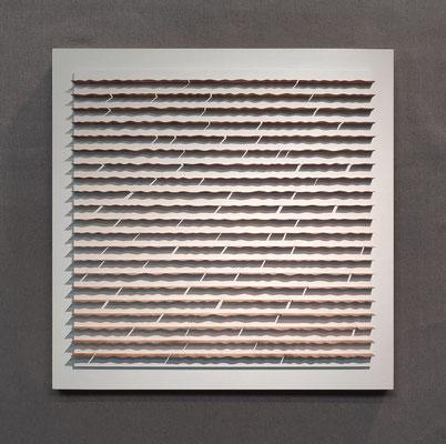 Waves, 80 x 80 cm,  mdf en kersenfineer