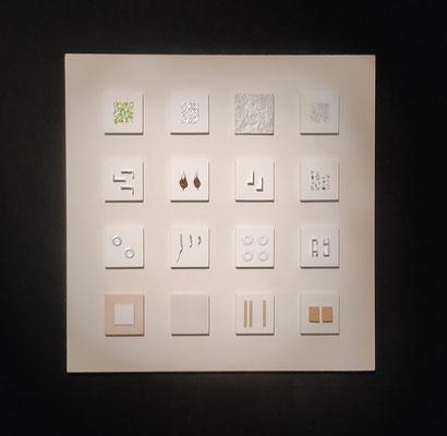 """4 x 4 smallart"",  50 x 50 cm, diverse materialen"