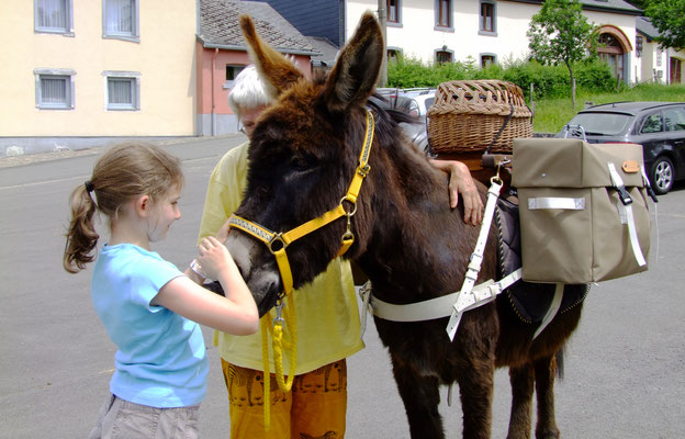Unterwegs treffen wir auf Kinder, die von den Eseln total begeistert sind.
