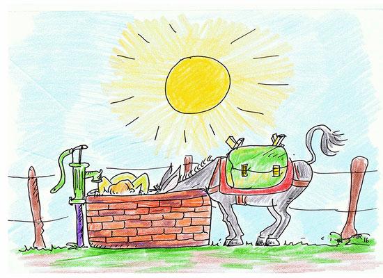 Es ist sehr heiß und dein Esel hat großen Durst. Du musst einen Umweg vorbei am Dorfbrunnen machen, damit dein Esel, und auch du, ausreichend trinken kann.