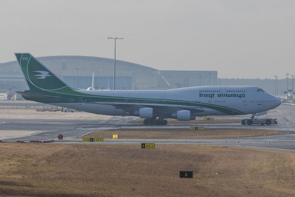 FRA 17.2.2014; YI-ASA; Iraqi Airways Boeing 747-4H6; ex-Malaysian 9M-MPO