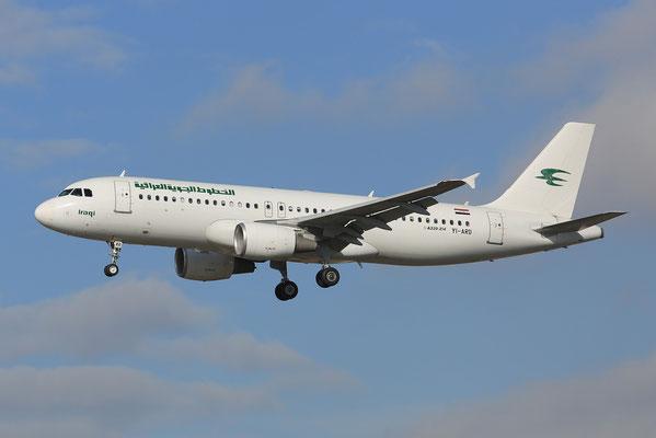FRA 17.2.2014; YI-ARD; Iraqi Airways Airbus 320-214; ex-Niki OE-LEQ