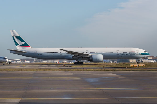 "FRA 08.01.2016; B-KPF, Cathay Pacific Boeing 777-367ER former ""ASIA´S WORLD CITY""-Logojet"