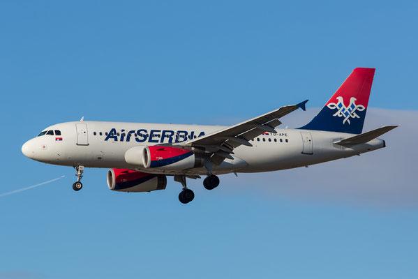 FRA 17.2.2014; YU-APE; Air Serbia Airbus 319-132; ex-Mandala, ex-Olympic (SX-OAL), ex Volaris