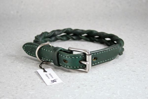 Geflochtenes Halsband / Größe: S / Breite: 2,0 cm / Farbe Oberleder: Green/Grün / Farbe Naht: Grün /Preis: € 69,-