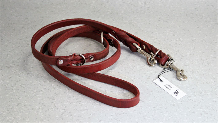 Geflochtene Hundeleine verstellbar / Größe: 2,0 m / Breite: 1,8 cm / Farbe Oberleder: Red/Rot / Preis: € 75,-