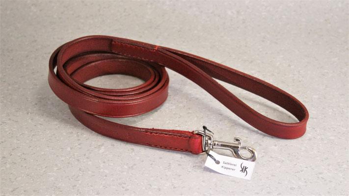 Hundeleine BASIC verstellbar / Größe: L = 2,0 m / Breite: 2,0 cm / Farbe Oberleder: Red/Rot / Farbe Unterleder Handschlaufe: - / Farbe Naht: Rot / Verzierung: -  / Preis: € 60,-