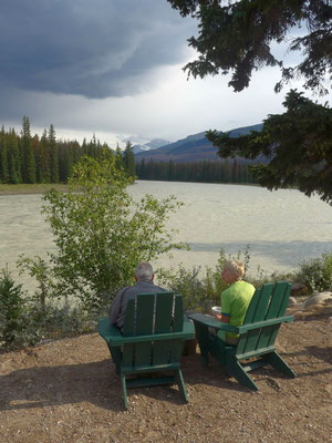 Pause am Athabasca in Jasper