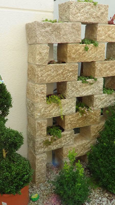 Bepflanzte Sichtschutzmauer