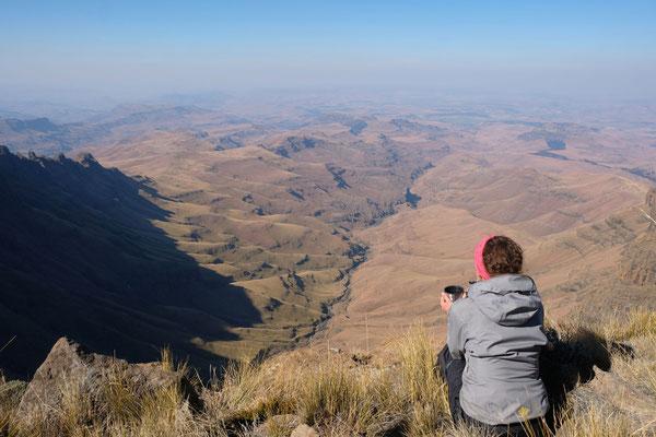 Hodgon's Peak Wanderung mit Blick auf Kwazulu Natal in Südafrika