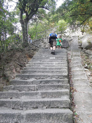 ...dann steigt man gefuehlte 100.000 Treppen zum Gipfel hinauf...