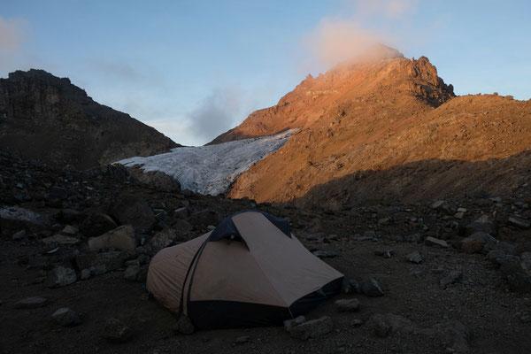 Camping am Lewis Gletscher