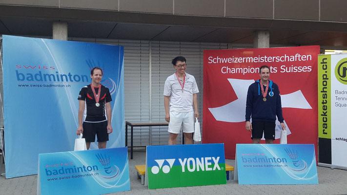 Badminton Senioren-Schweizermeisterschaften 2018 / 3. Rang Stefan Maurer (im Bild rechts)