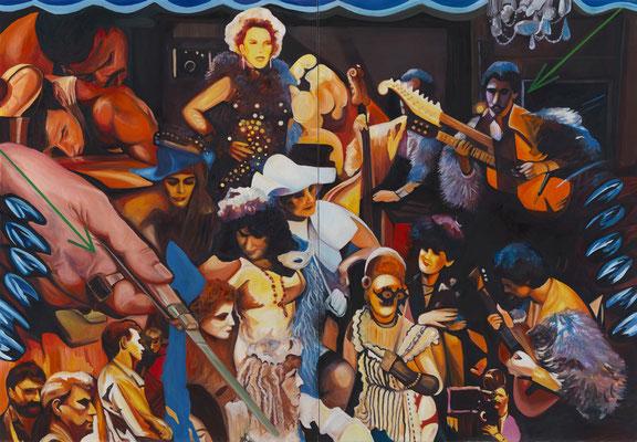 BURKHARD DRIEST  I  Le monde de Lysiane Diptychon  I  Öl auf Leinwand  I  207 x 300 cm