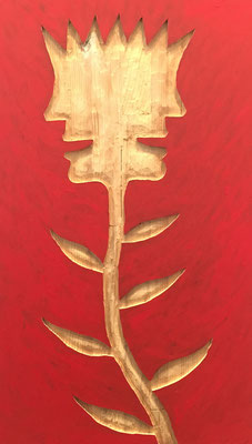 REN RONG  I  Pflanzenkopf  I  Holz geschnitz farbig gefasst / rot  I  55 x 32 cm