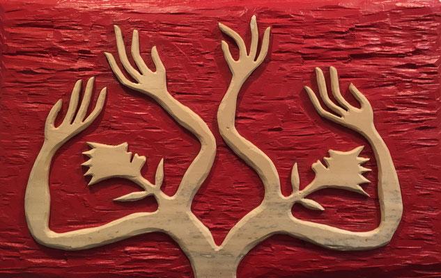 REN RONG  I  Pflanzenmensch  I  Holz geschnitz farbig gefasst / rot  I  55 x 83 cm
