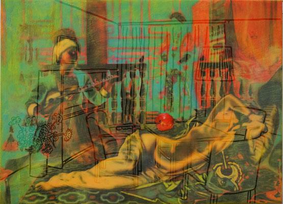 IVO LUCAS  I  Beratungszimmer  I  Öl, Acryl, Pigmente, Lack auf Leinwand  I  80 x 110 cm
