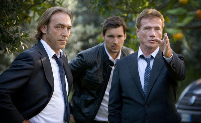 """Luca Ward, Florian David Fitz e Jürgen Prochnow in """"Tod bei ankunft"""" di Lars Becker"""
