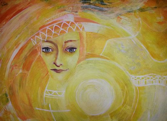 Lady Portia // 70 x 100cm  // Mischtechnik auf Spanplatte // 800,00 €