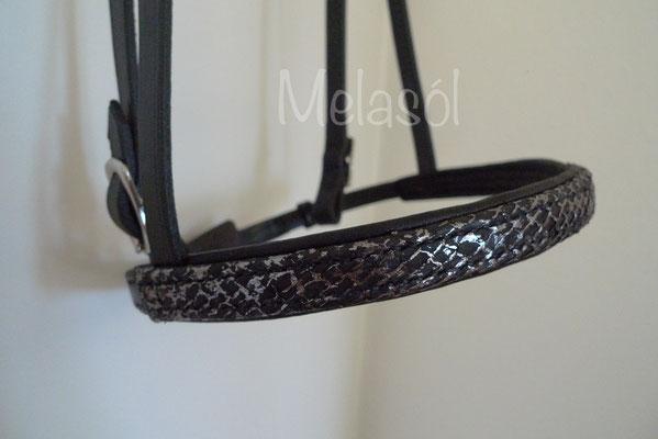 Trense Prestige, Leder: schwarz, Polster: schwarz, Fischleder: schwarz-metallic