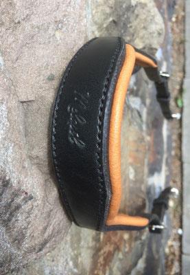 Kopfstück Prestige, Leder: schwarz, Polster: brownie