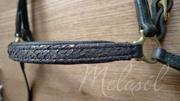 Trense Akureyri, Leder: schwarz, Polster: schwarz, Fischleder: schwarz-gold
