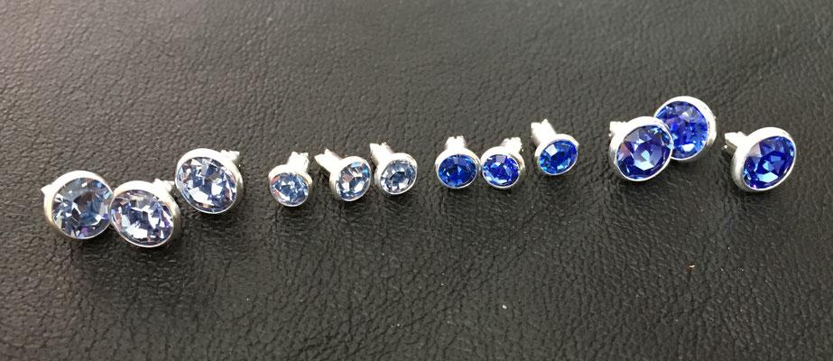 v.l.n.r. light Sapphire groß, light Sapphire klein, Sapphire klein, Sapphire groß