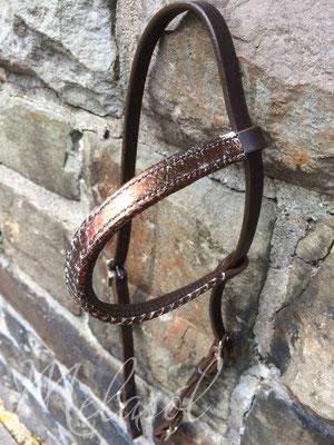 Einfaches Kopfstück, Leder: moro, Fischleder: multicolor-bronze