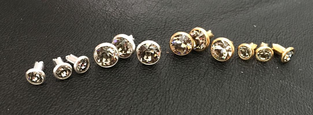 Black Diamond (v.l.n.r. klein silber, groß silber, groß gold, klein gold)