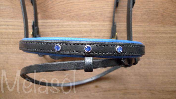 Trense Prestige, Leder: schwarz, Polster: California blue