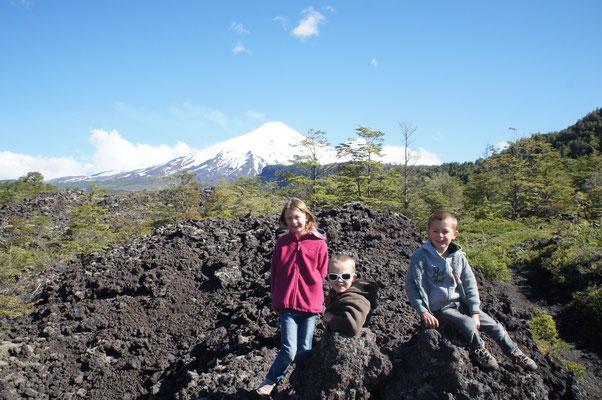 Volcan Villarica en toile de fond