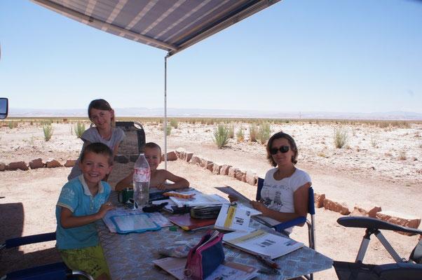 On fait classe à l'entrée du désert !