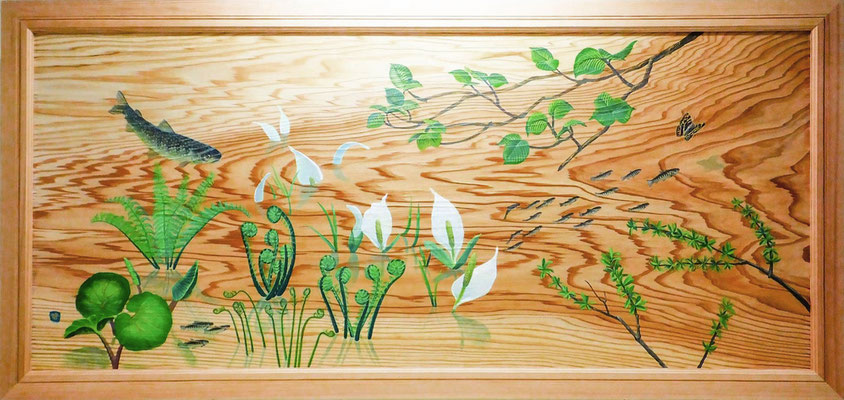 2017 遭逢の春(秋田杉浮造絵画)