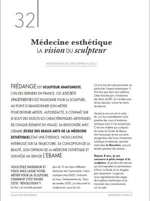 """FREDANGE, sculpteur anatomiste, article """"Apparence N°8"""" octobre 2018"""