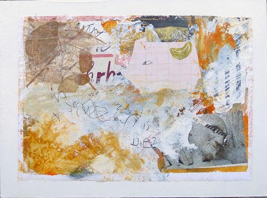 Mischtechnik auf Papier - 18x24x3 cm -  Papier kaschiert auf Malgrund - Titel: Auf der Suche nach der Wahrheit