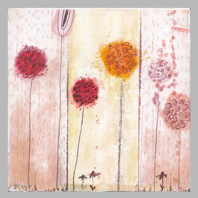 ohne Titel - Collage-Mischtechnik auf Holzkörper - 15 x 15 cm - 2015 -verkauft-