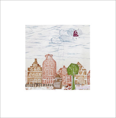 Mischtechnik auf Papier - 10 x 10 cm - Serie: Stadtlandschaften