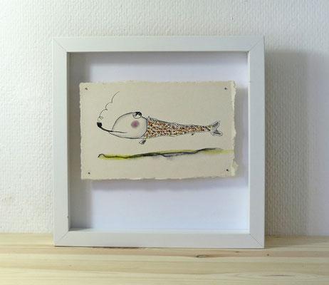 Finnpappe mit Malerei-Mischtechnik in dreidimensionaler Rahmung - Rahmenmaße: 23x23 cm - Titel: Pfeifen-Fisch