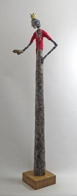 Große Skulptur aus Pappmache - montiert auf geölten Sockel aus Eiche - Größe ca. 96 cm  -Titel: Prinzessin auf der Erbse -verkauft-