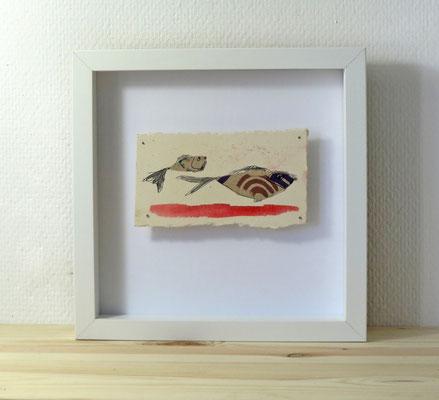 Finnpappe mit Malerei-Mischtechnik in dreidimensionaler Rahmung - Rahmenmaße: 23x23 cm - Titel: ohne Titel