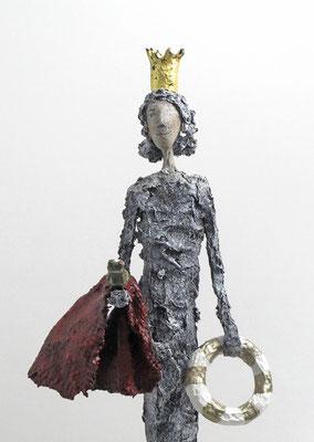 Skulptur mit Blattgold und Frosch - montiert auf geölten Sockel aus Eiche - Größe ca. 50 cm  - Titel: Der Frosch ist gerettet