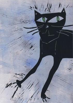 Linoldruck auf Papier - Papiergröße  ca. A2 (42x59,4 cm) - Auflage 10 Stck - Titel: Die Neugierige