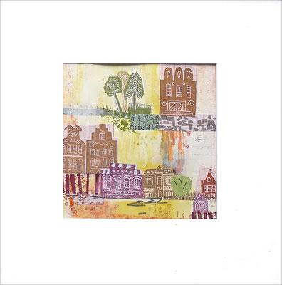 Mischtechnik auf Papier -  14,5x14,5 cm - Serie: Stadtlandschaften