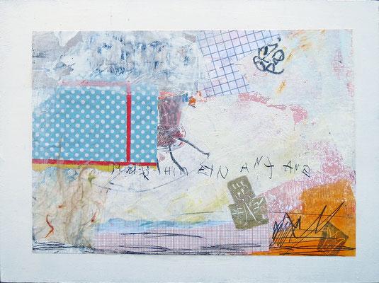 Mischtechnik auf Papier - 18x24x3 cm -  Papier kaschiert auf Malgrund (24 x 18 x 3 cm)- Titel: Immerhin ein Anfang