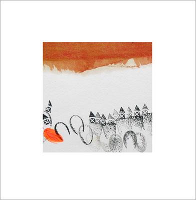 Mischtechnik auf Papier - 10 x 10 cm - Serie: von heute bis damals