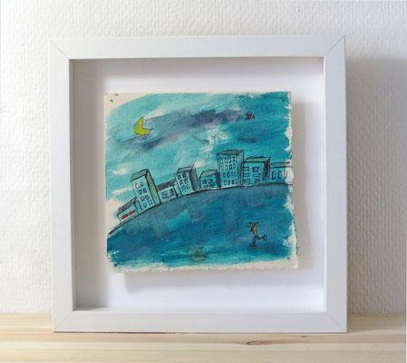 Finnpappe mit Malerei-Mischtechnik in dreidimensionaler Rahmung - Rahmenmaße: 23x23 cm - Titel: Fisch auf Eis