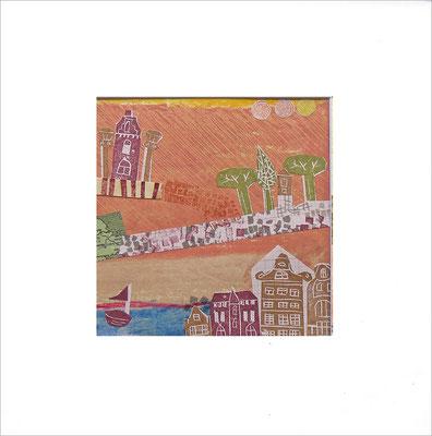 Mischtechnik auf Papier -  14,5x14,5 cm - Serie: Stadtlandschaften -verkauft-