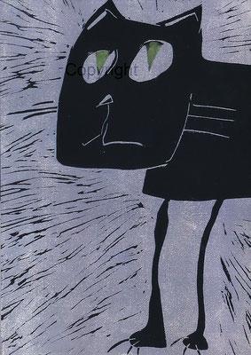 Linoldruck auf Papier - Papiergröße  ca. A2 (42x59,4 cm) - Auflage 10 Stck - Titel: Die Schuldbewußte